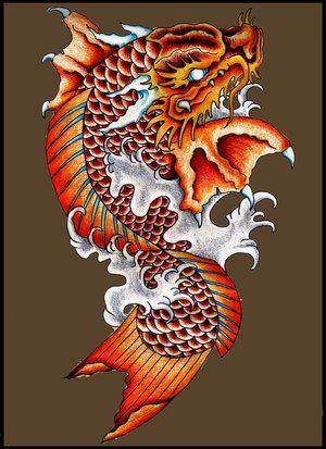 Nice Koi Dragon Tattoo Picture Jpg 300 413 Koi Dragon Koi Dragon Tattoo Koi Tattoo Design