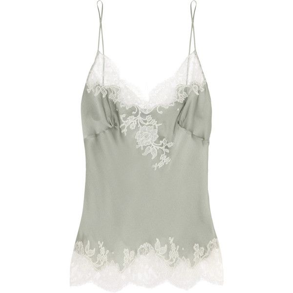 Carine Gilson Lace-trimmed silk-satin camisole (€365) found on Polyvore featuring intimates, camis, tops, lingerie, sleepwear, underwear, gray green, carine gilson camisole, lace trim camisole and carine gilson