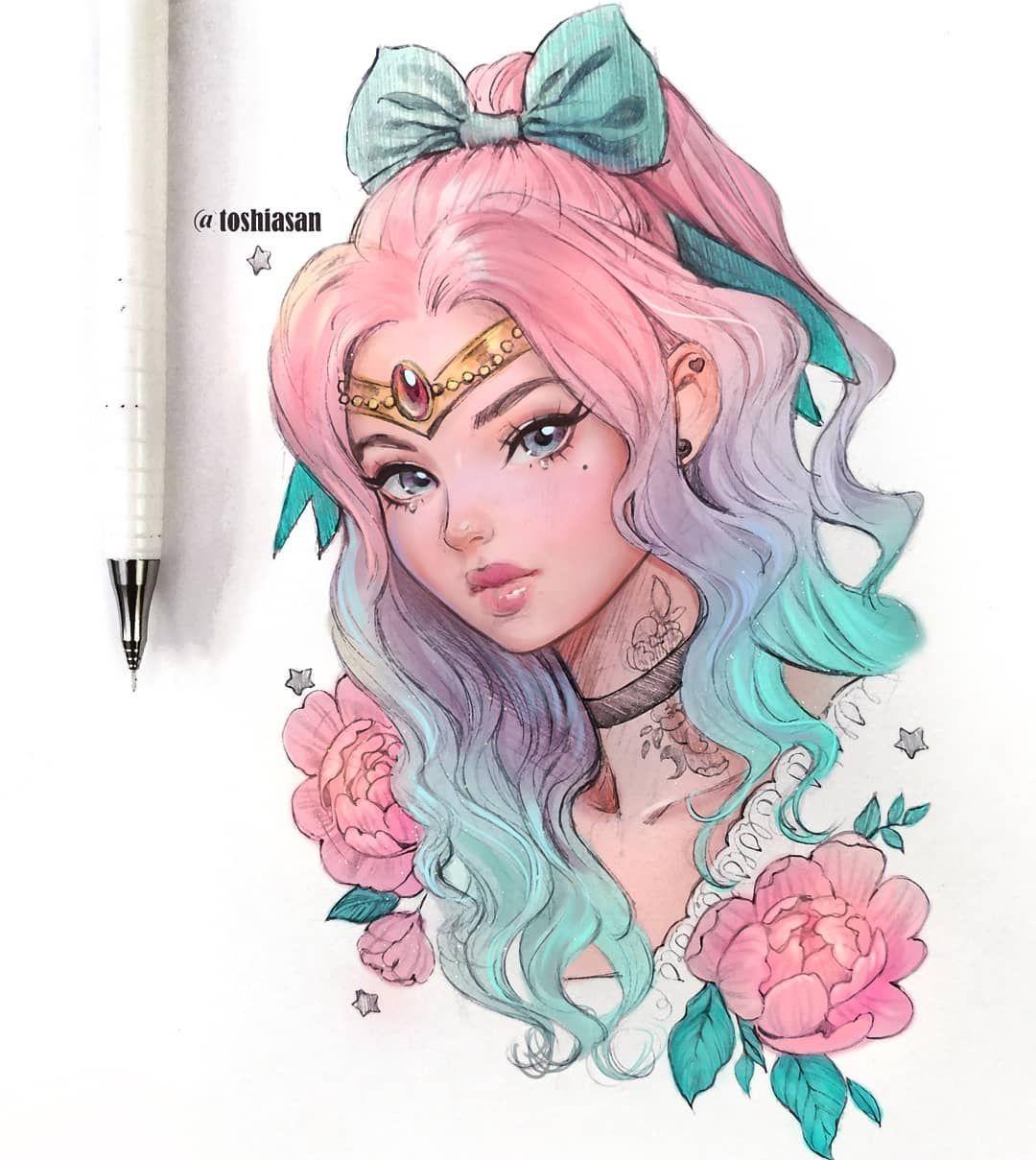 Unicorn Princess She Was A Unicorn Wishing To Be A Girl The Good Witch Gave Her The Gold Tiara To Change H Cute Kawaii Drawings Kawaii Drawings Cute Drawings