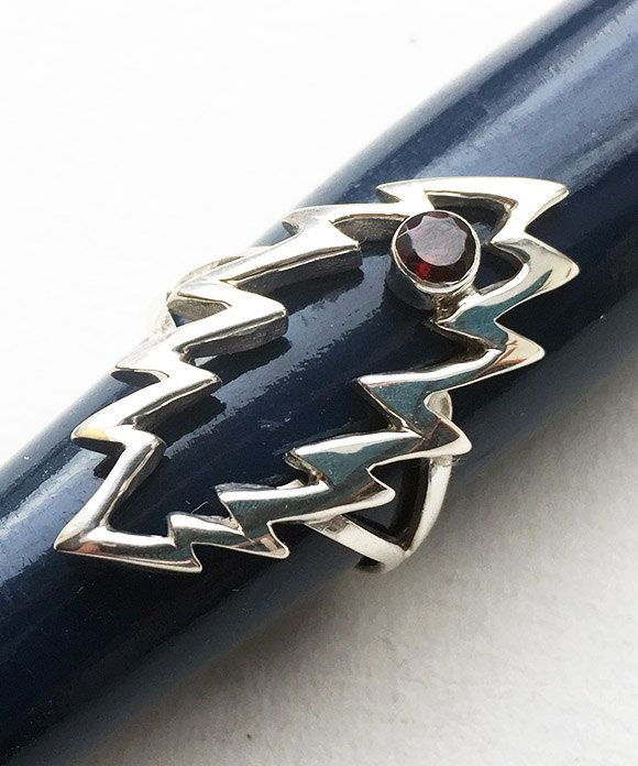 Grateful Dead Sterling Silver Lightning Bolt Ring with Faceted Garnet by 100mics on Etsy