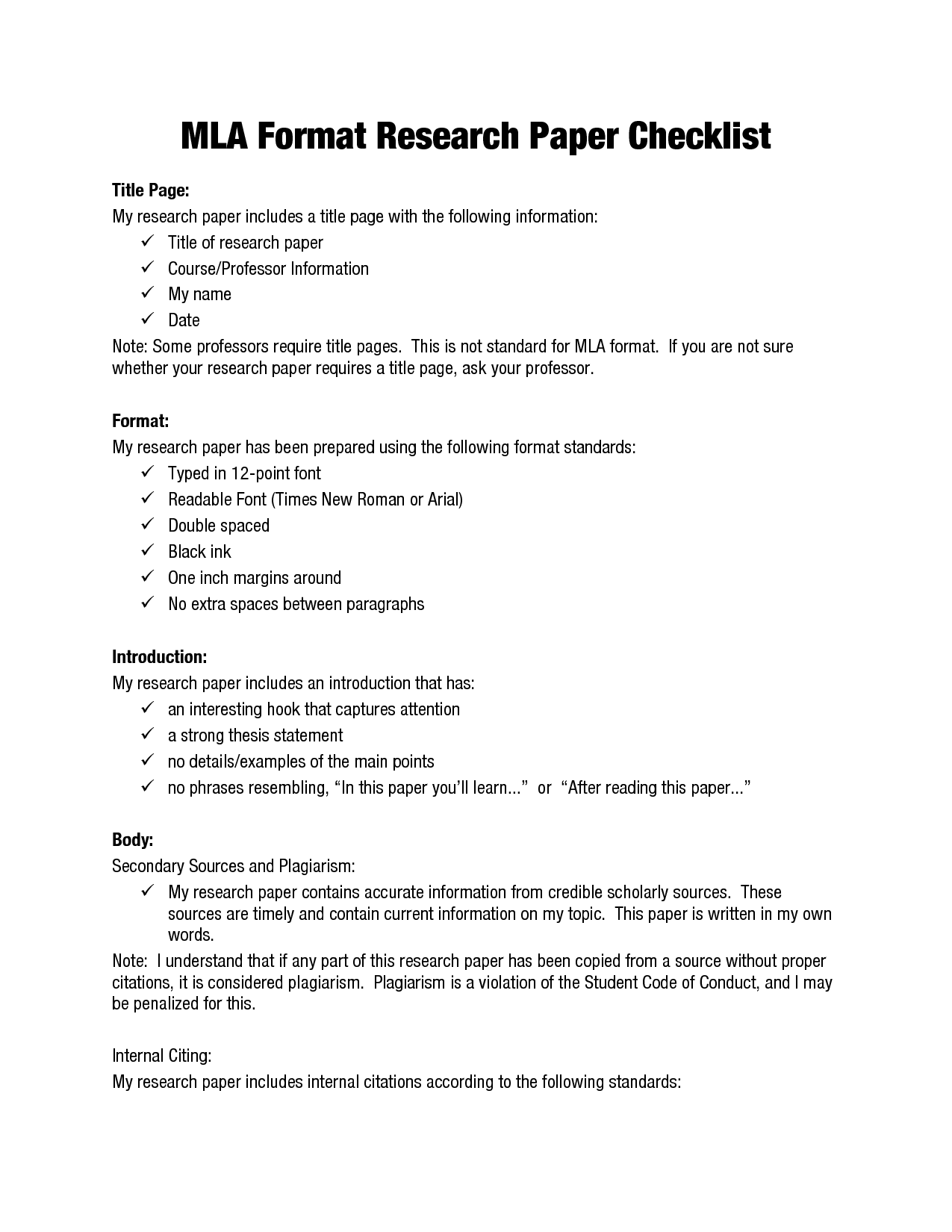 Proper Essay Format Mla Format Research Papers  Mla Format Research Paper Checklist