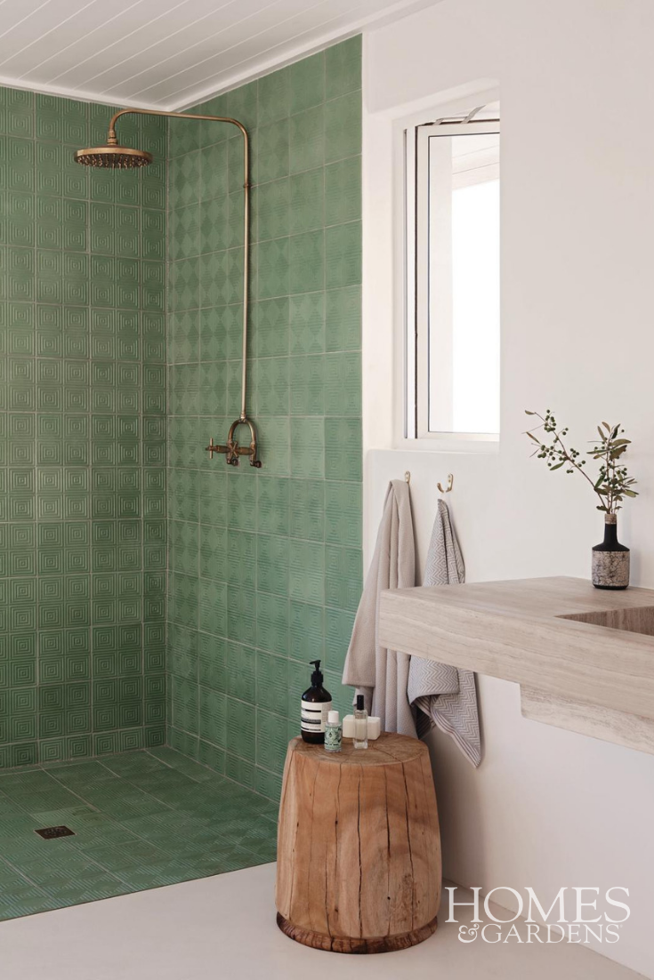 Wet Room Has Used Green Patterned Tiles
