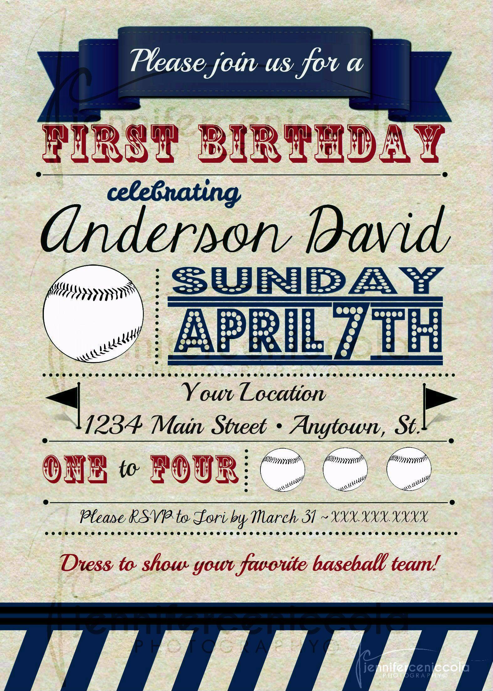 1st Birthday Invitation, Boston Red Sox/Baseball Theme. | *Parties ...