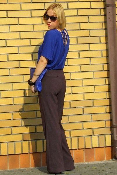 Blue Top Dark Brown Pants Dark Brown Pants Brown Pants Outfit For Work Brown Pants Outfit