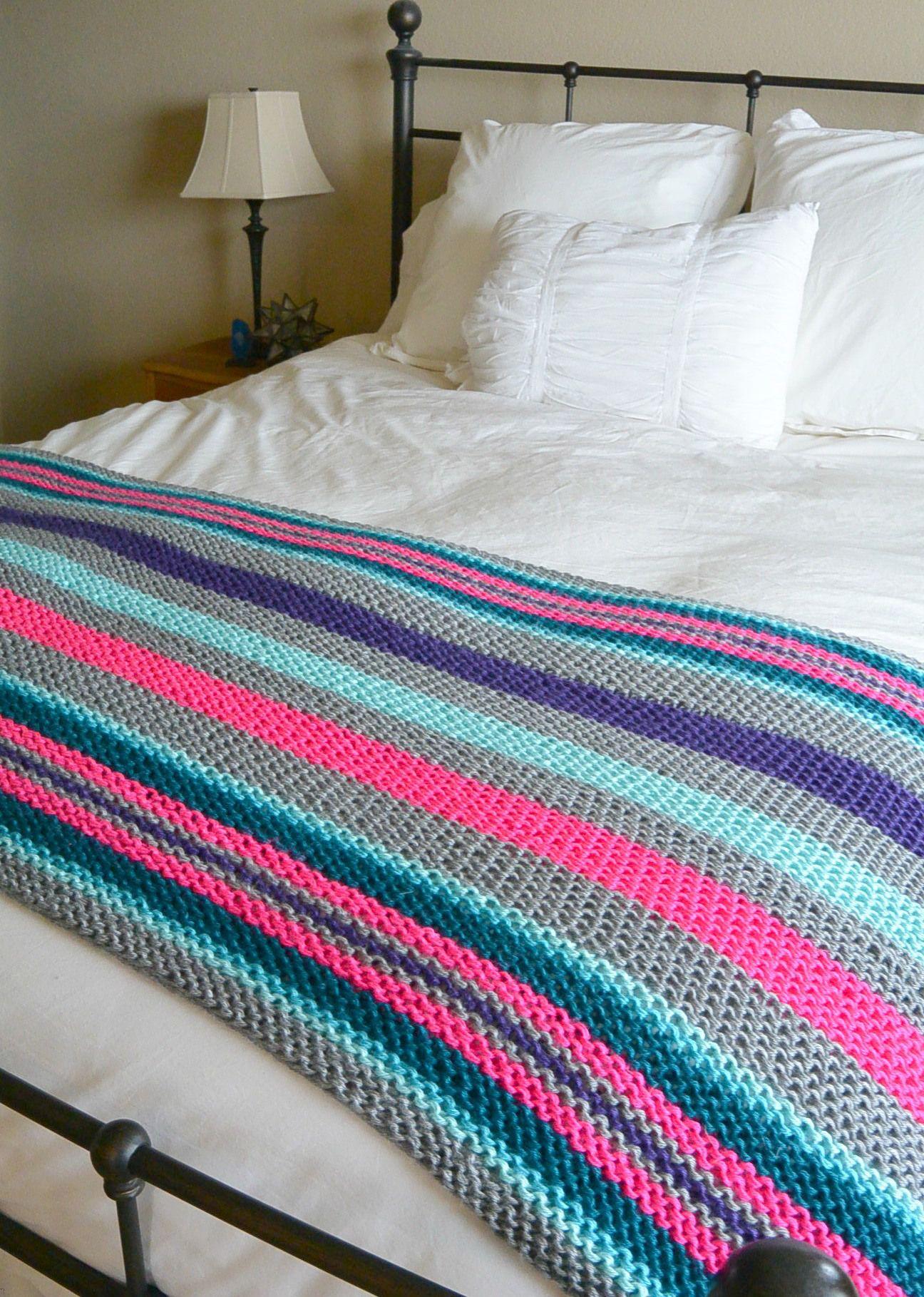 Easy Striped Knit Blanket | Knitting | Pinterest | Blanket, Easy and ...
