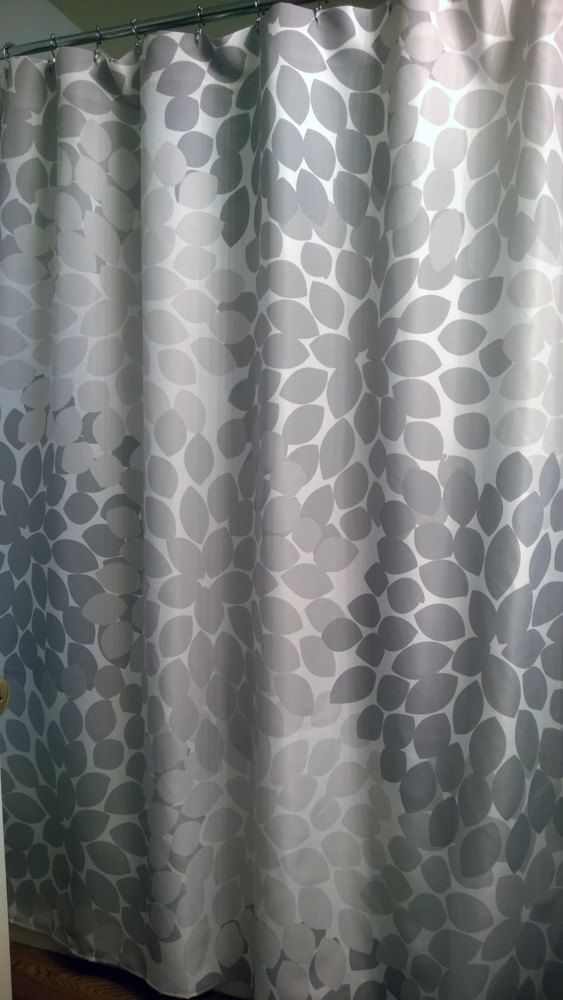 Shower Curtain In Five Shades Of Gray Floral Standard And Extra Long Lengths 70 74 78 84 Or 96