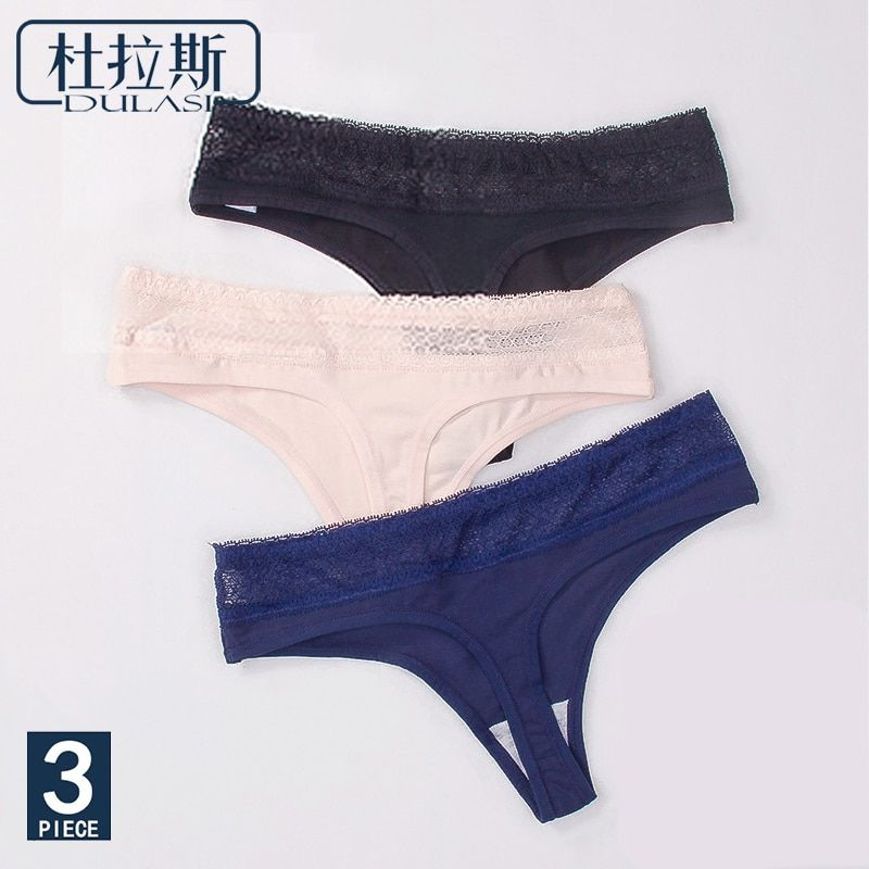 0abc1a929cf Women Sexy Lace Cotton G-String Comfortable Low-Rise Waist Breathable  T-back Women Underwear 3pcs lot DULASI Brand Lingeries  алиэкспресс   aliexpress