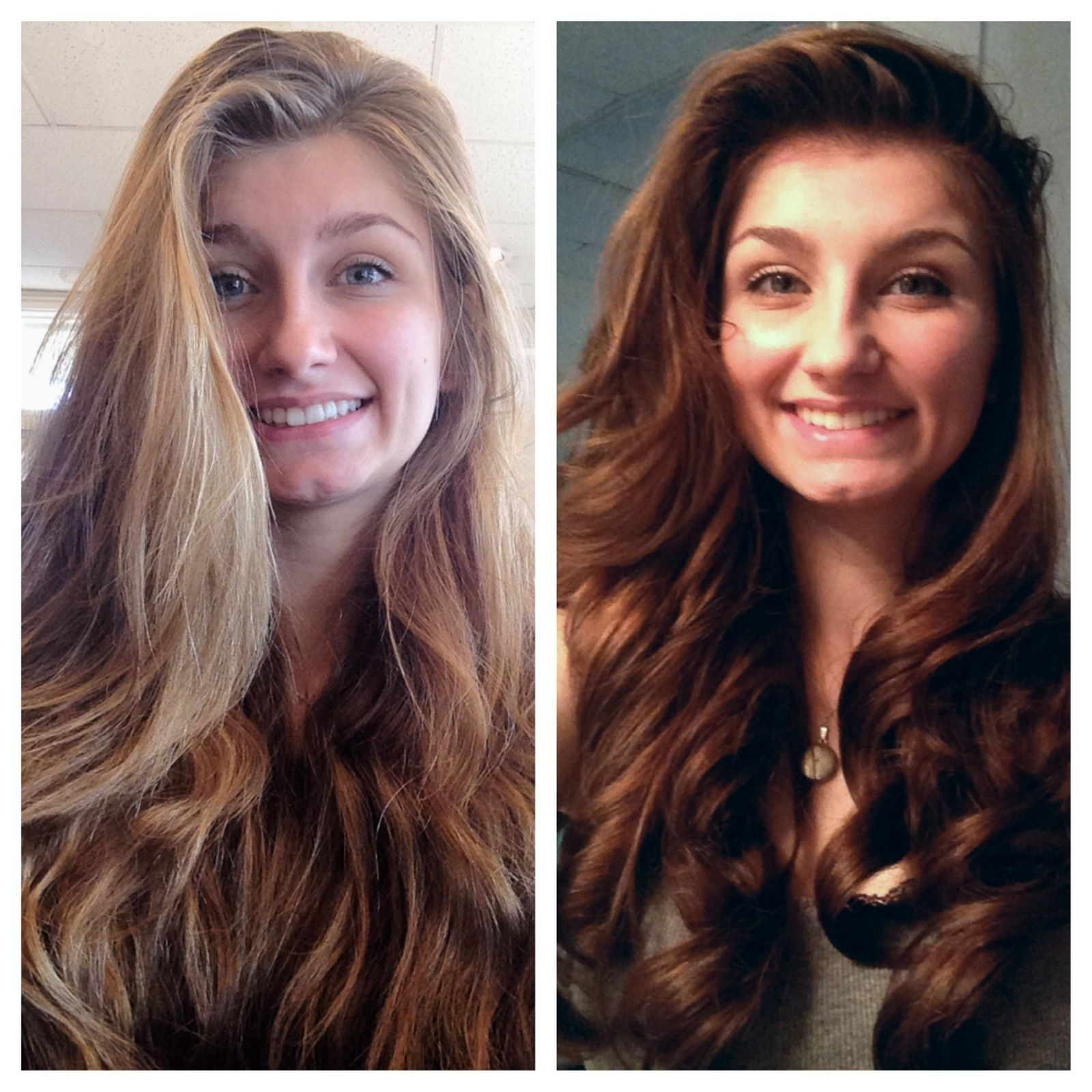 Before Amp After Of My Cute Client Strawberry Blonde Highlights In Chestnut Base That Had Faded