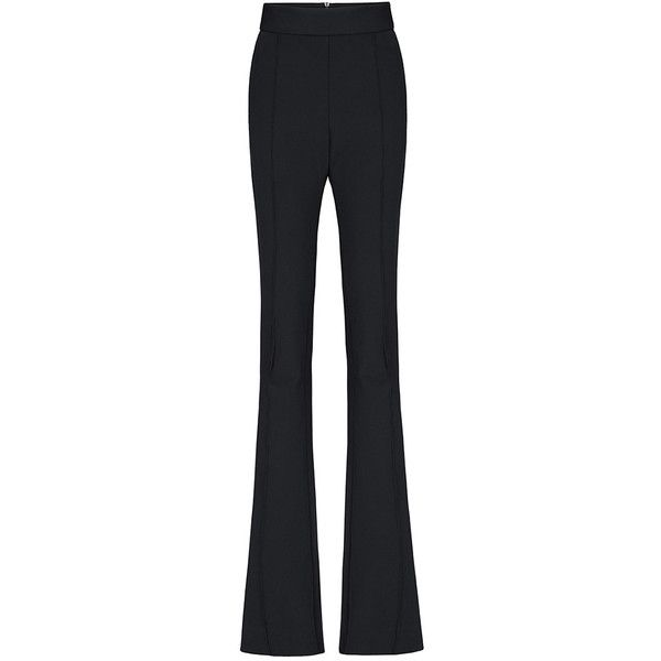 Maticevski Defending Flare Trousers ($975) ❤ liked on Polyvore featuring pants, high waisted loose pants, high waisted flare pants, slim pants, black flared pants and black trousers