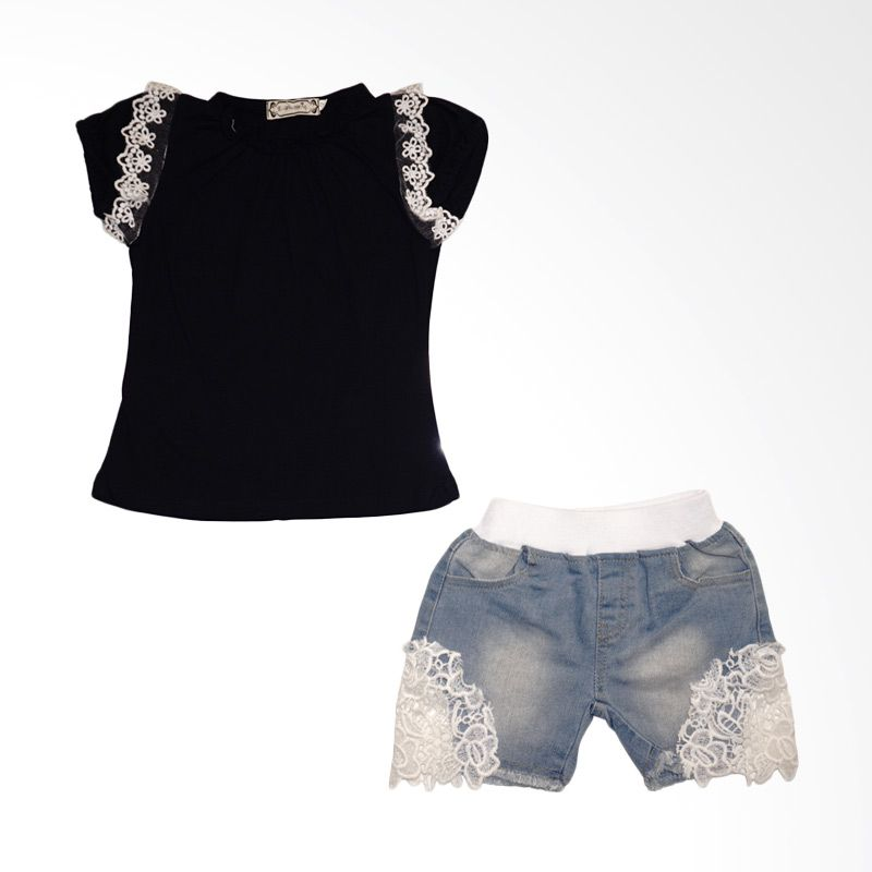 Cafeweb | Ebuty Fashion Brokat Jeans Navy Setelan Anak Perempuan