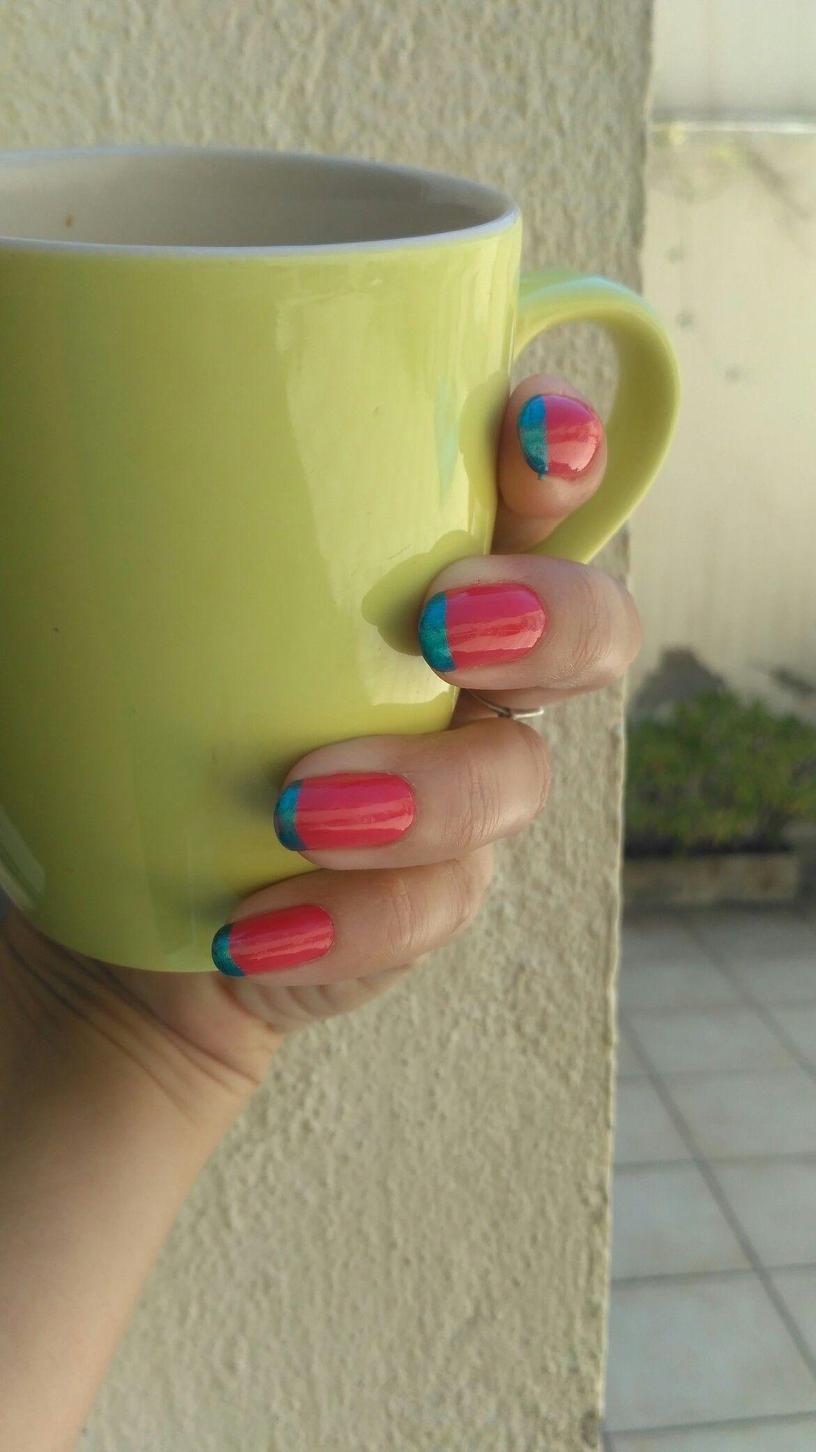 Uñas francesitas de colores! Fuxia y Esmeralda. French nails. #francesitas #colourfrenchnails