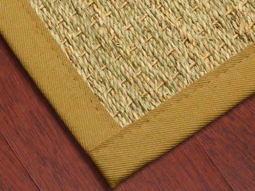 Half Panama Seagr Rug Sage Khaki 2 X 3 100 Cotton Binding Non Slip Latex Backing Eco Friendly Custom Size Shape And Border Available At