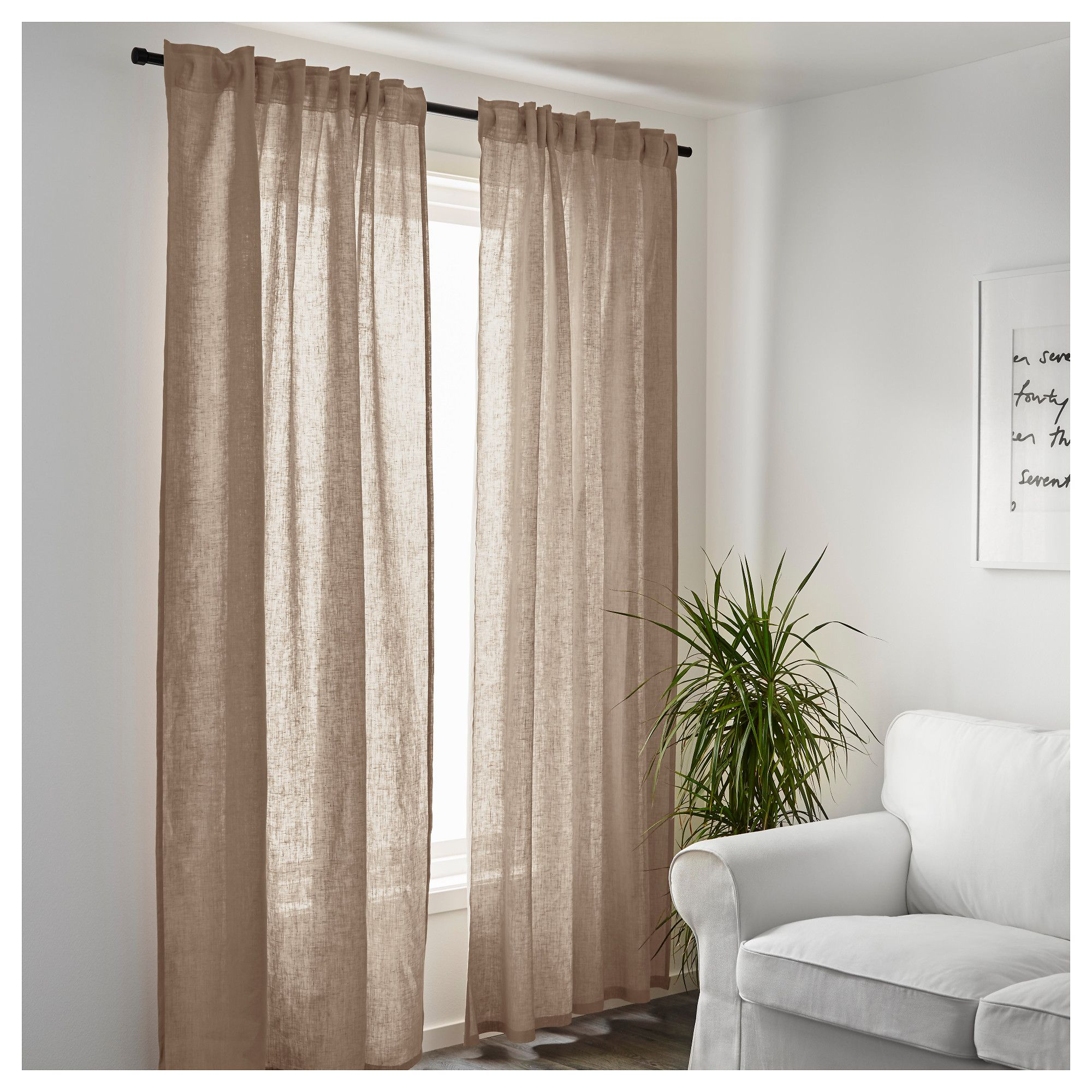 Ikea Aina Curtains 1 Pair Beige Products In 2019
