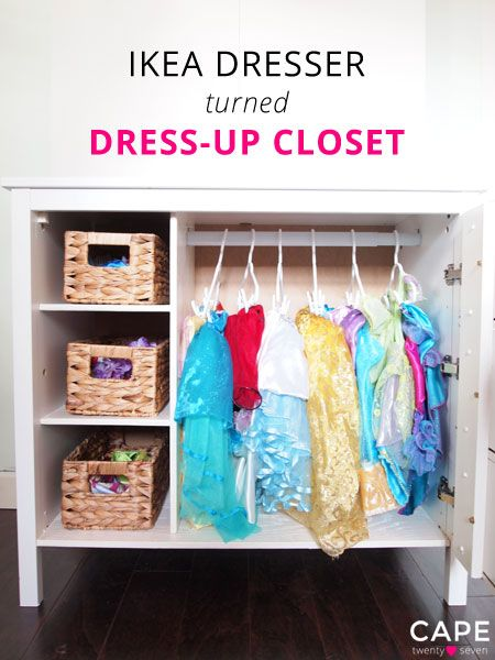 Princess Toys Box Storage Kids Girls Chest Bedroom Clothes: Ikea Dresser Turned Dress-Up Closet