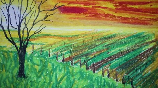 Oil pastel inspired by Edward Munch.