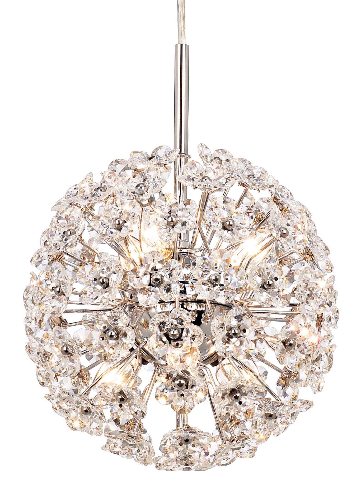 "Celestial 8"" Wide Silver Sphere Crystal Mini Pendant"