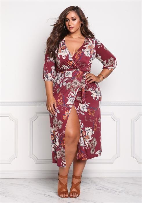 Plus Size Faux Wrap Floral Midi Dress