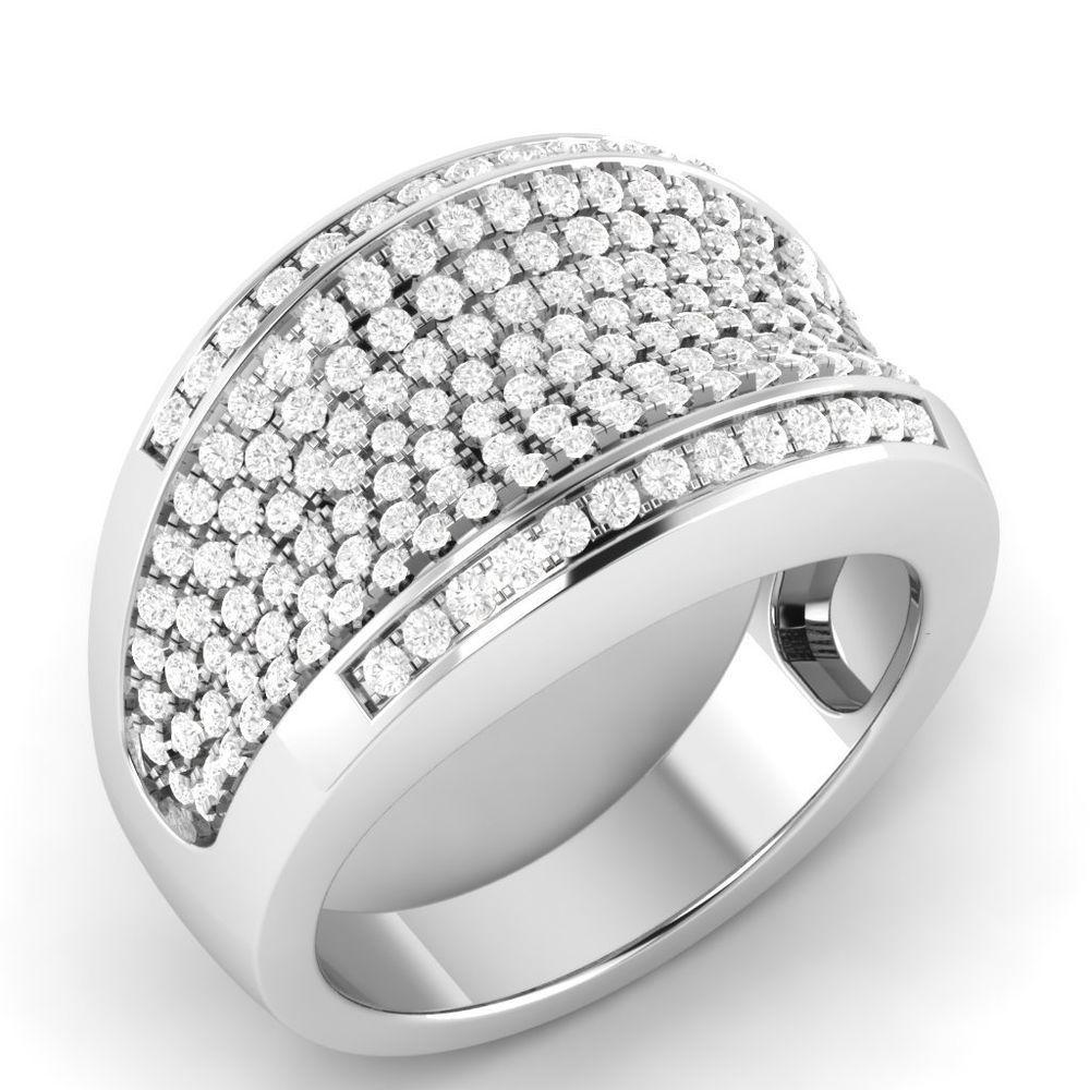 0 78 Ct Real Natural Diamond I1 Hi Cluster Dome Band Ring Solid 10k White Gold Vijisan Band Engagementweddin Band Rings Women Band Rings Engagement Jewelry