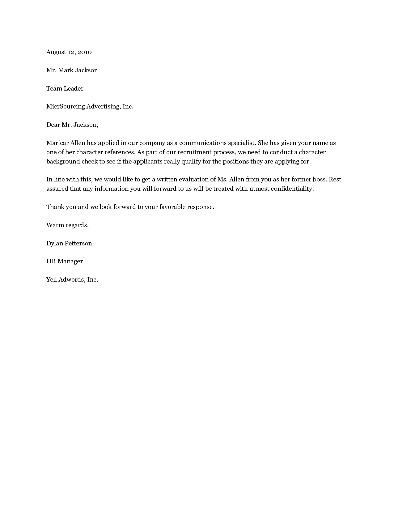 Character Letter Samples Best Business Template Recommendation