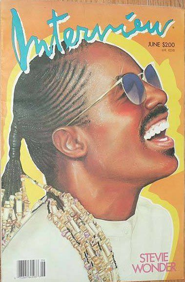 Stevie Wonder on the cover of Interview, 1986. The most awesome, iconic and controversial music magazine images of the last 80 years. Compiled by Newmanology and the good folks at Adweek magazine. See the full collection of covers here: http://www.adweek.com/news/press/101-kick-ass-music-covers-156788