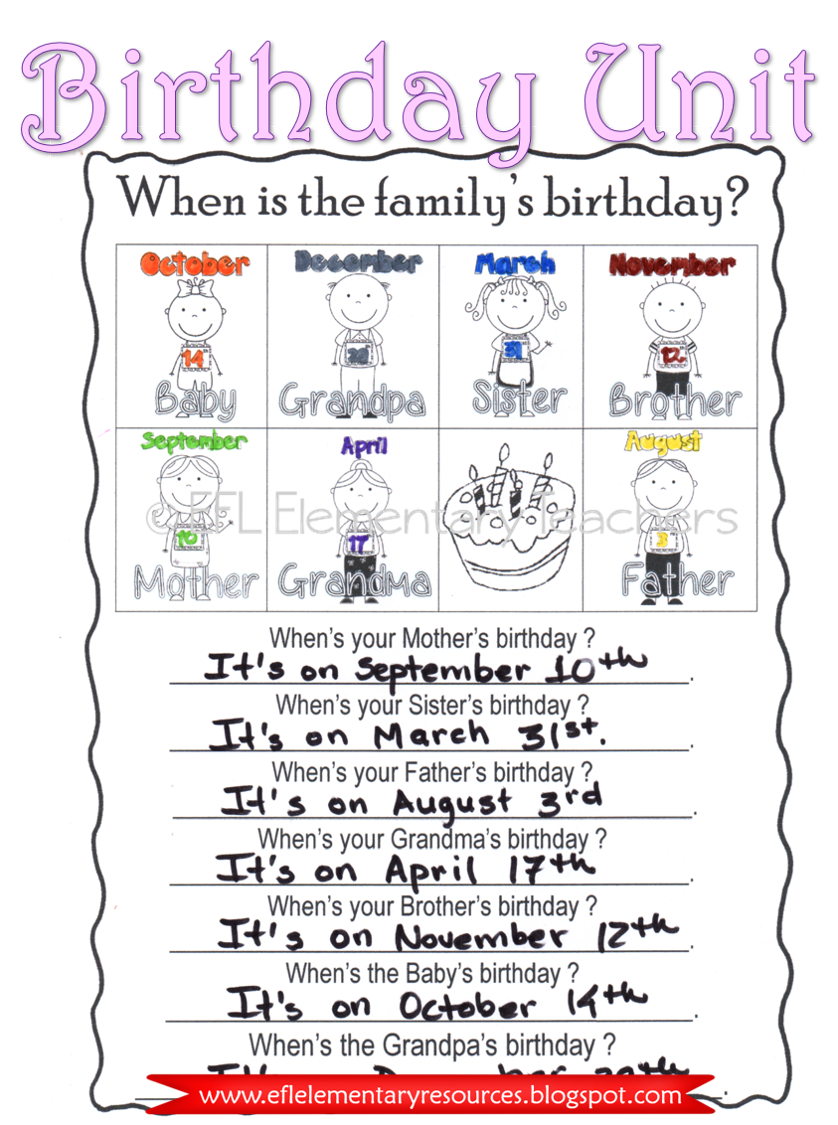 Esl Birthday Unit Worksheets Elementary Special Education Activities Special Education Elementary You Are The Father [ 1125 x 838 Pixel ]