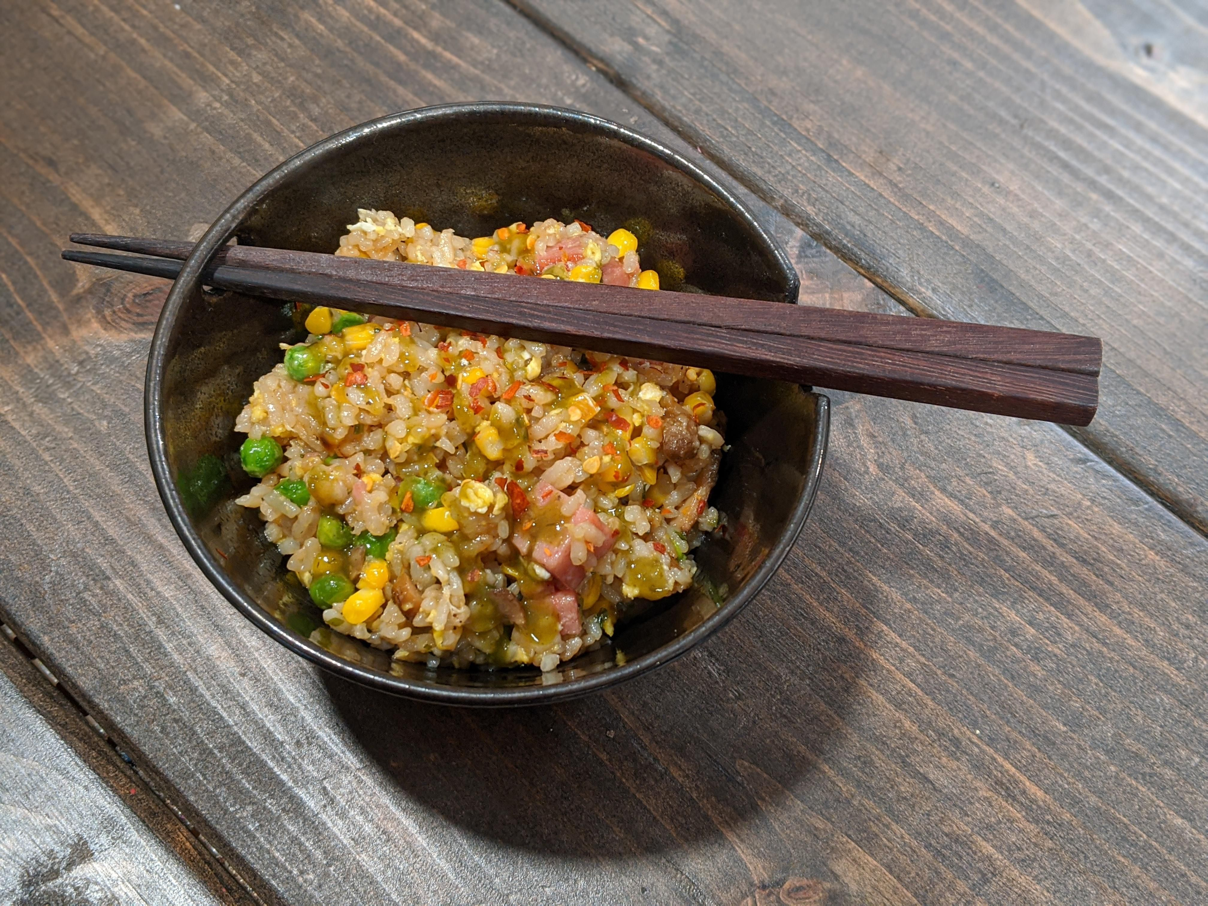 Spam fried rice for dinner tonight Quick easy cheap and very few ingredients Perfect for a Monday