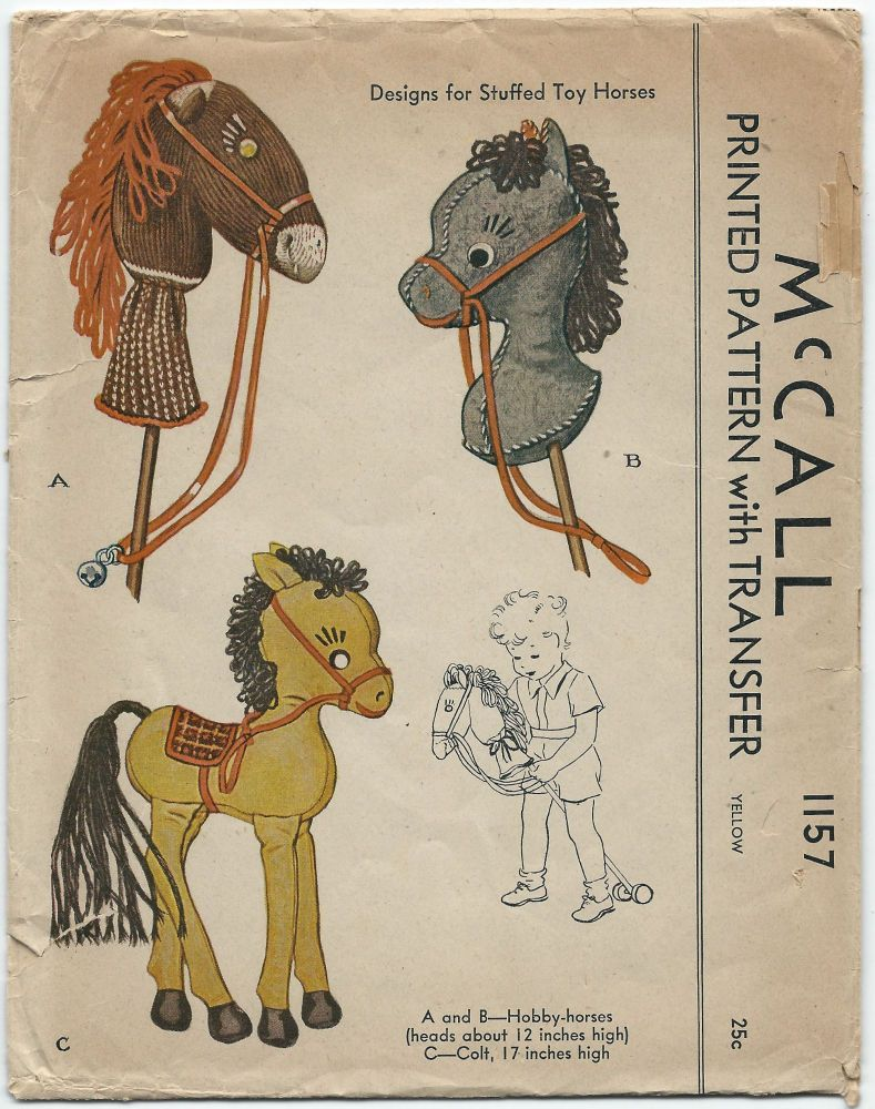 1940s Vintage Sewing Pattern McCall 1157 Craft Stuffed Toy Horses ...
