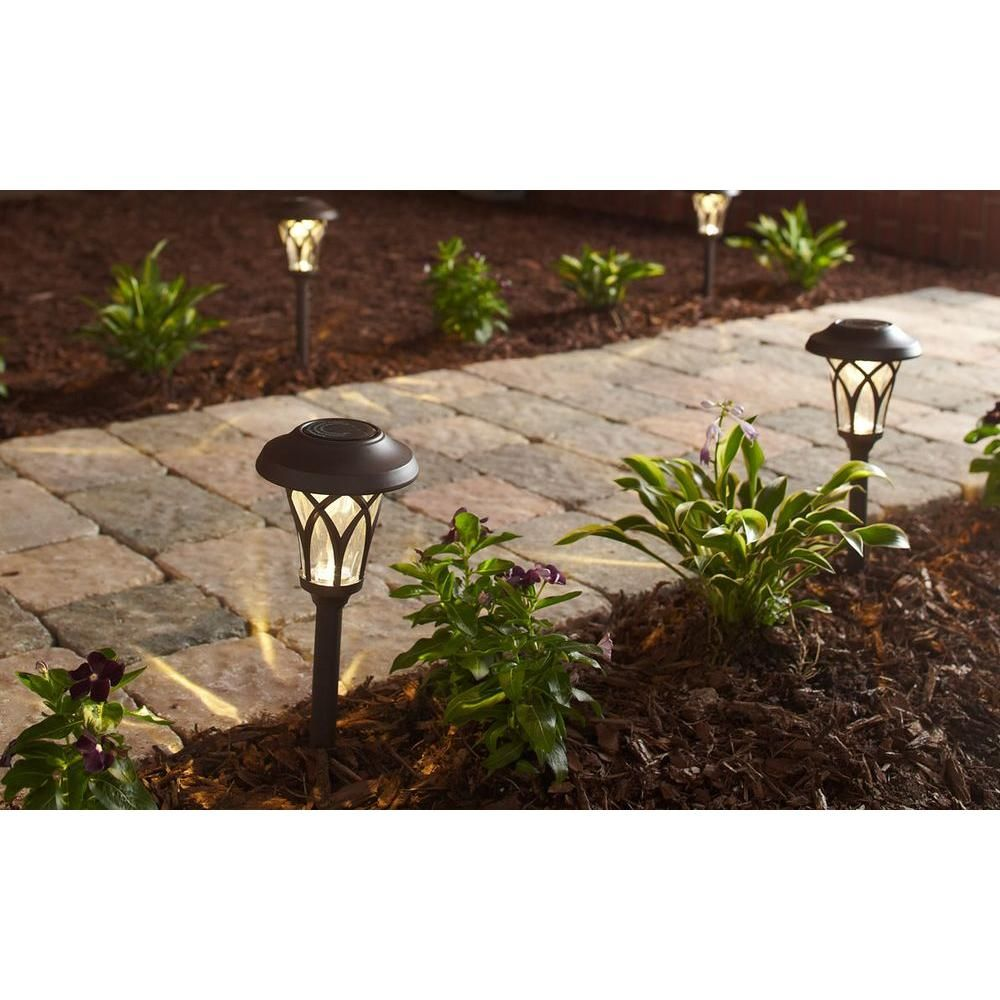 Hampton Bay Solar Bronze Outdoor Integrated Led Landscape Fan Cage Path Light With Water Glass Lens 6 Pack Nxt 8029 6pk Hampton Bay Outdoor Solar Lights Outdoor Solar