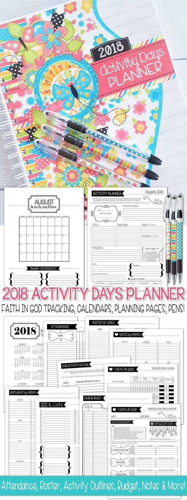 2018 Activity Days Planner PRINTABLE | Domingo, Invitaciones y Varios
