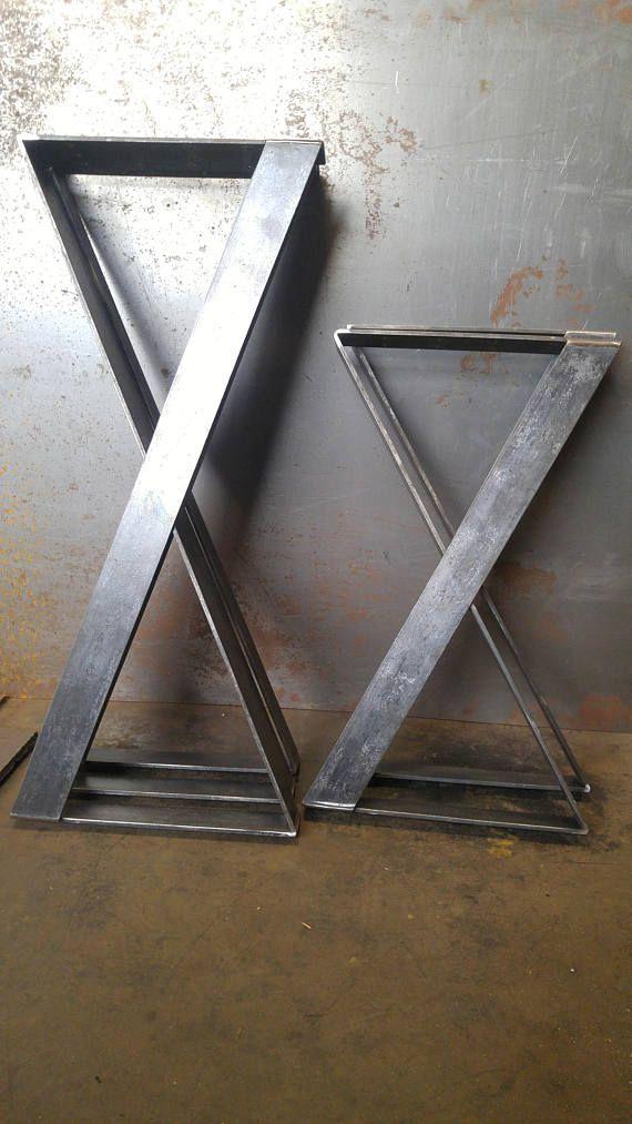 X tischbeine von hand gefertigte metall x style beine in for Coole esstische