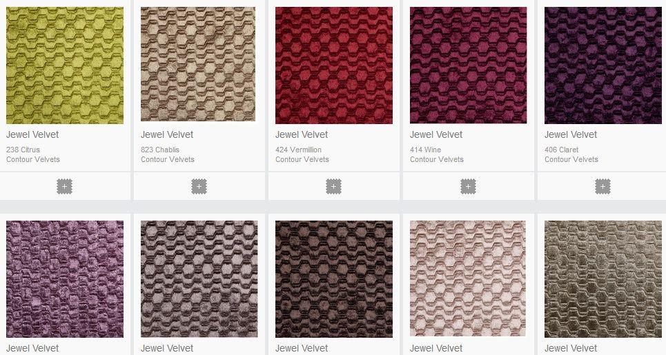 Fabric colours in velvet