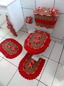 Jogo De Banheiro Croche Flores Vermelho Com Marrom Jogos De Banheiro Croche Jogo De Cozinha Croche Croche Para Banheiro