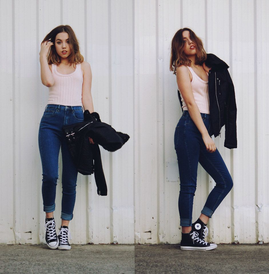jeans y converse mujer