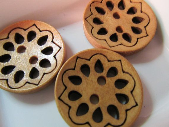 10 Carved Brown Wood Buttons- 23mm - Sewing- Scrapbooking- Jewelry Making- Crafts  #button #buttons #wood #sewing