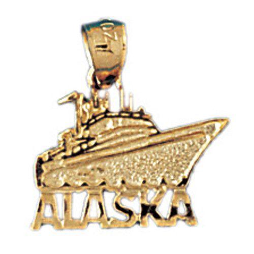 14K GOLD NAUTICAL CHARM - CRUIS SHIP - ALASKA #1080