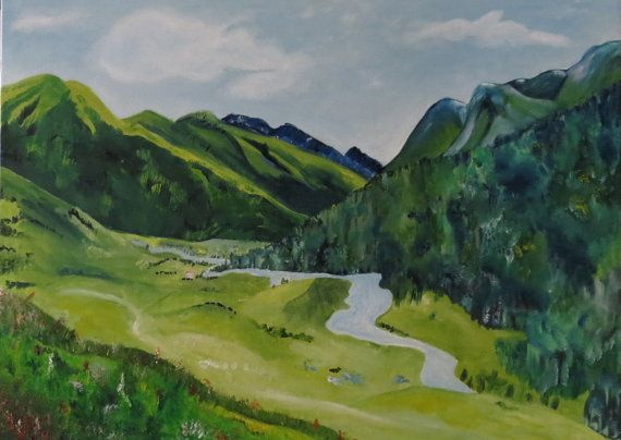 Countryside Green Mountains Nature Painting Landscape By Lishna Landscape Pictures Landscape Paintings Nature Paintings