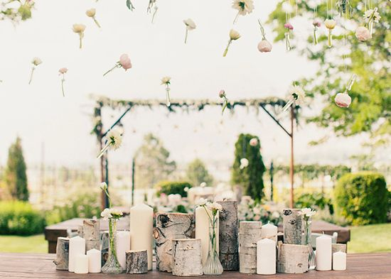 birch wood and candle centerpiece   Centerpieces   Wedding ...