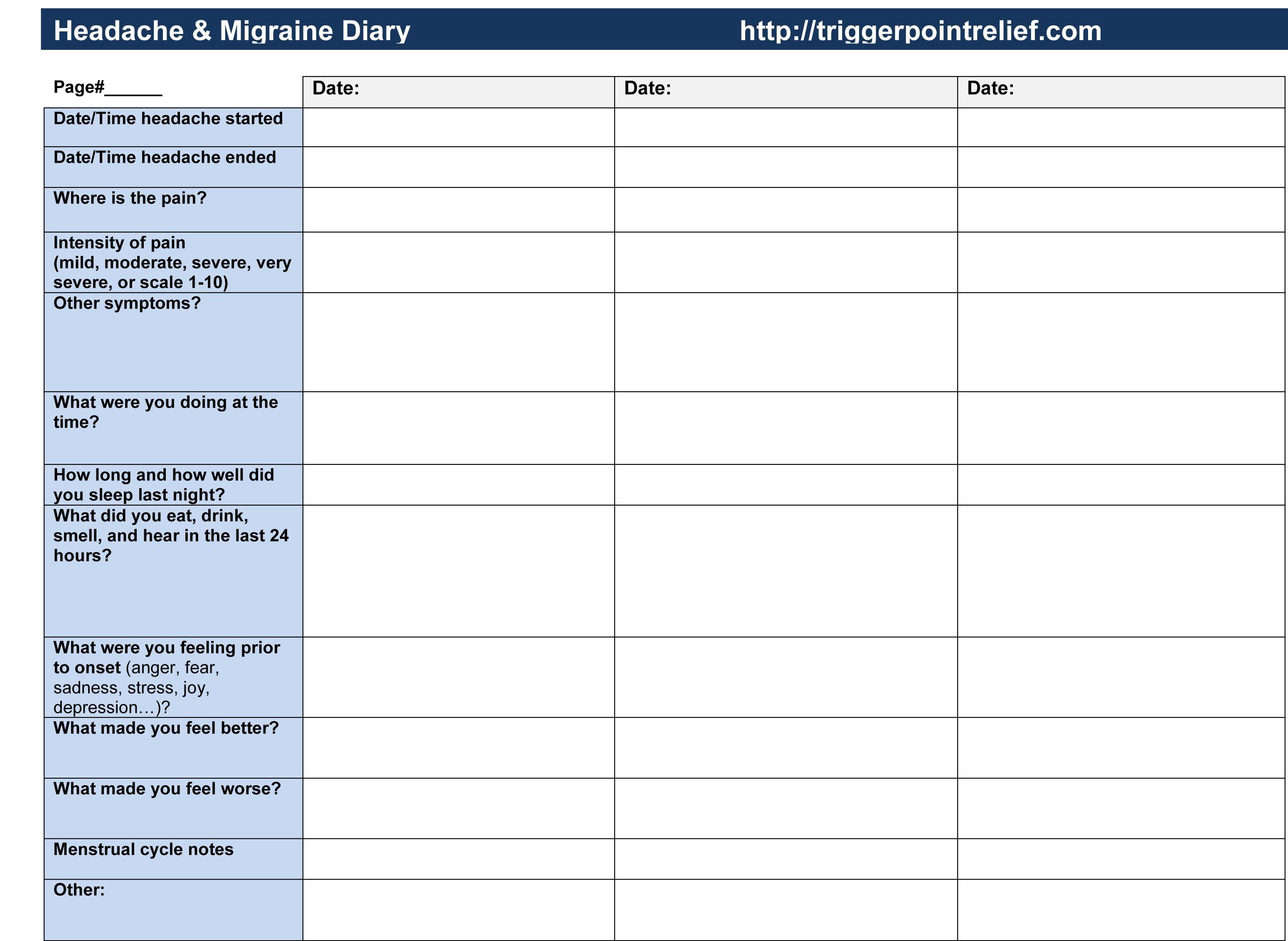Headache Diary Worksheet