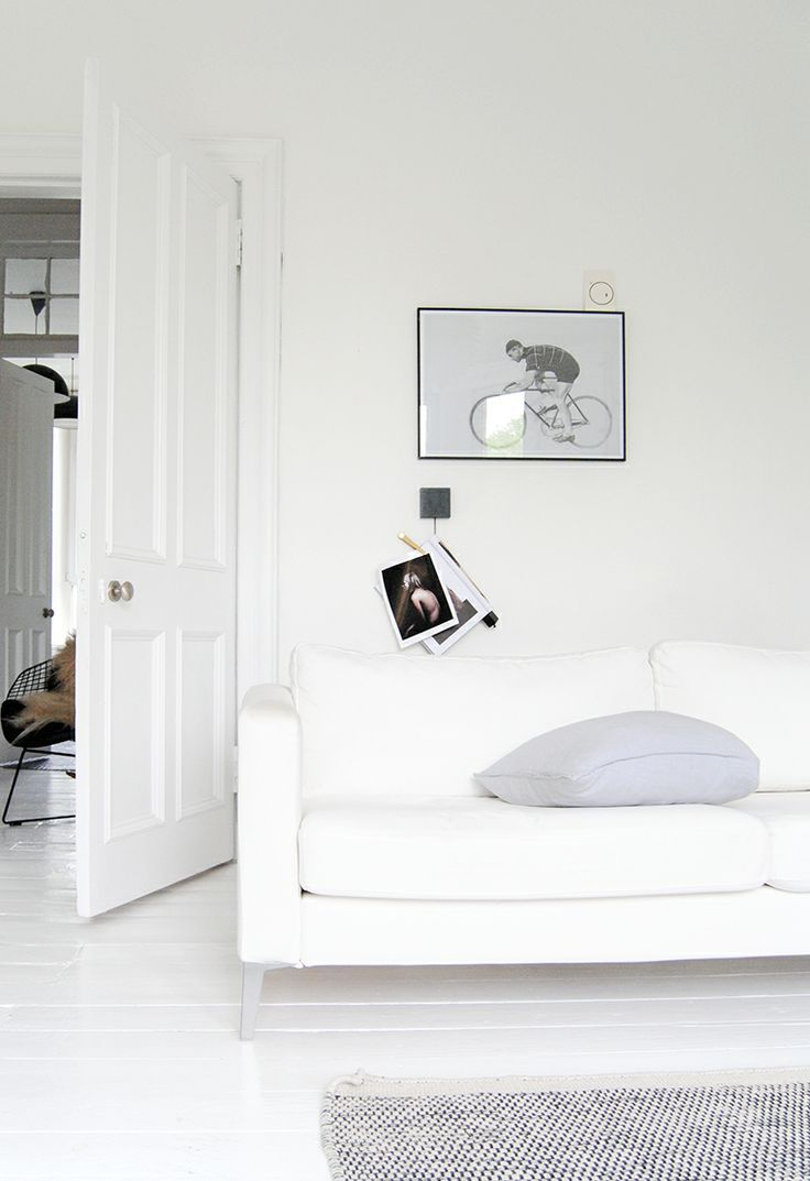 white wall white couch from Ollie