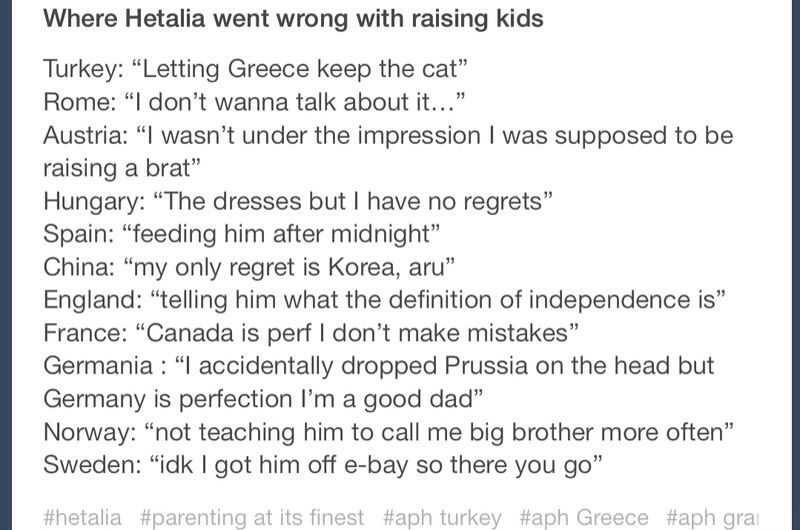Hetalia an raising kids. Isn't it weird that the best kids raised were by the BTT? Oh and also Arthur's is just unnecessary