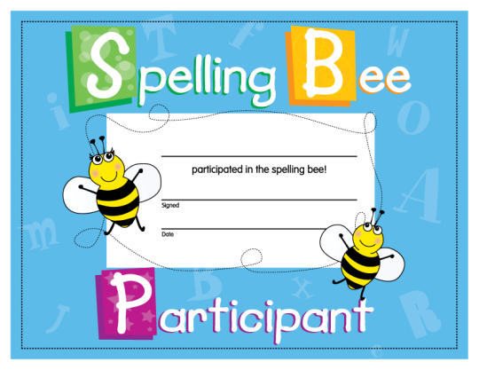 Spelling bee certificate bee certificate certificate and bees spelling bee certificate yelopaper Image collections