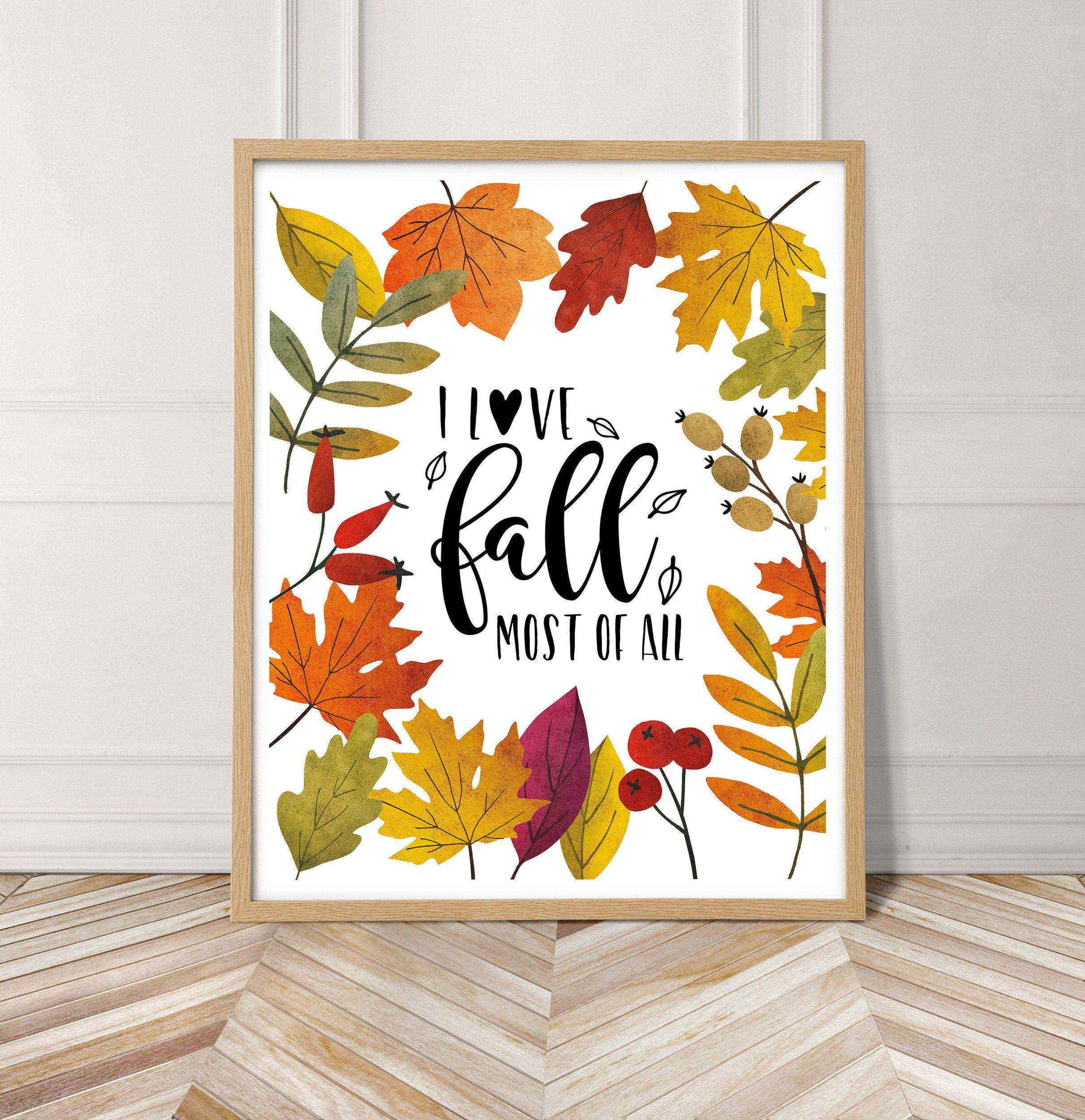 Fall Printable Wall Art Autumn Poster Beautiful Watercolor Print