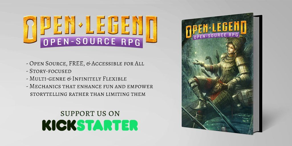 Spread the word! Open Legend--the Free, #OpenSource #Tabletop RPG System is on @kickstarter right now! http://kck.st/2eP8LZW
