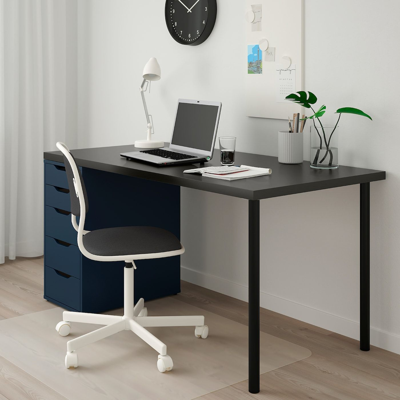 Linnmon Alex Table Black Brown Blue 59x29 1 2 Shop Online Or In Store Ikea In 2020 White Wood Desk Home Ikea