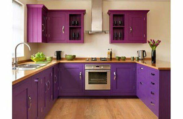 Purple And Plum Kitchen With Laminated Wood Countertops Feminine