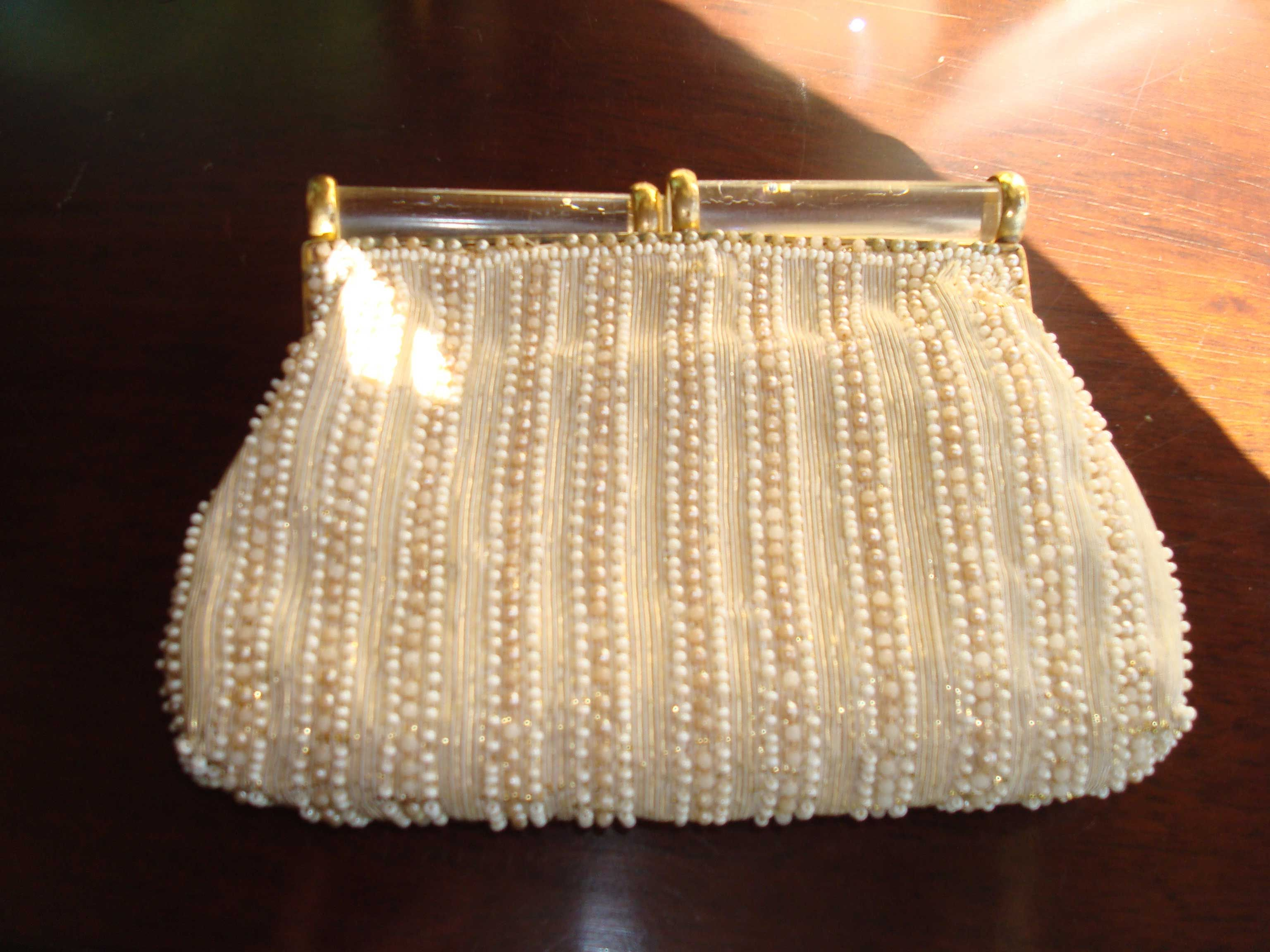 1930s Beaded clutch with lucite handles.