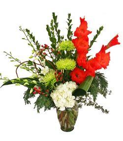 Phoenix Florist Cactus Flower Florists Az Jolly St Nick With Red Gladiola Green Fuji Mums White Hydrangea And H Christmas Flowers Cactus Flower Florist