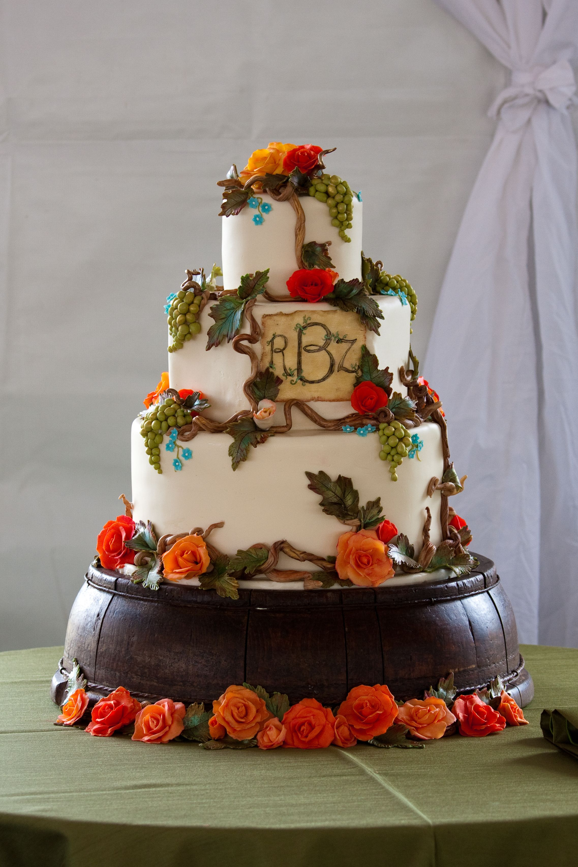 This cake was made with a wine label in mind, all accents including grapes, leaves, flowers, and wine label were created from imported chocolate. Cake: Elegant Cheesecakes, Half Moon Bay, CA