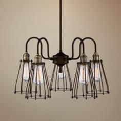 "Avenel Industrial Edison 22"" Wide Bronze 5-Light Pendant"