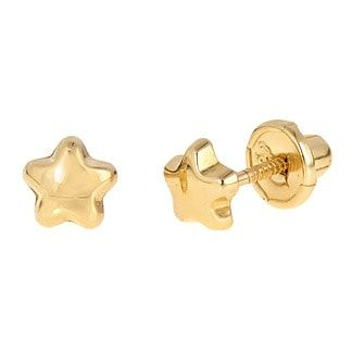 18k Gold Puffy Star Back Earrings For Baby And Toddler